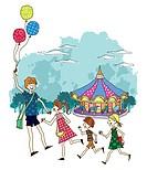Children running at circus