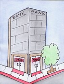 Conceptual illustration of a closed bank  Illustrating the concept of a 'bank holiday ' The concept of a run on the banks