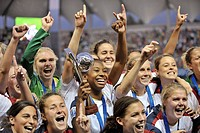 2008 FIFA U-20 Women´s World Cup, (December 7, 2008; Estadio Municipal de la Florida, Santiago, Chile): USA team celebrating championship win.