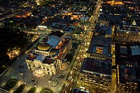 Aerial view of the Palacio de Bellas Artes and traffic in downtown Mexico City from the observation desk on the skyscraper Torre Latinoamericana, Mexi...
