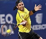 Vina del Mar Chile 8 February 2009 the chilean tennis player Fernando Gonzalez kicks the ball during a tennis match against the argentine Jose Acasuso...