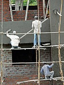 Workers are working on construction of a building  Pune, Maharashtra, India