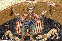 St  Daniel in the ditch with lions,mosaic,Katholikon Church of St  Luke,11th Century,Osios Loukas Monastery,Greece