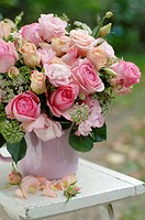 Roses in a damask rose jar