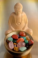 Healing stones with buddha