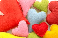 multicoloured decorative hearts