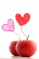 Apples with decorative hearts