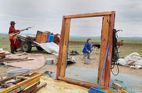 Removal of a yurt, Tov province, Mongolia