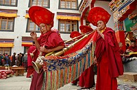 Horn players at a Tibetan festival Lama Yuru, Ladakh, India