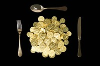 Coins and cutlery