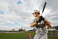 Baseball batter concentrating