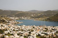europe, greece, dodecanese, patmos island, panoramic view of skala