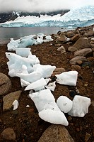 Ice on the shore, Neko Harbor, Antarctica.