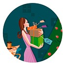A Cancer woman holding a stack of newly wrapped presents by a Christmas tree
