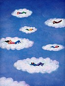 People lying down and relaxing on floating clouds (thumbnail)