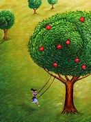 A woman on a tree swing and an apple tree (thumbnail)