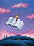 A woman standing on a flying book (thumbnail)