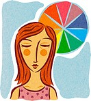 A woman receiving color therapy