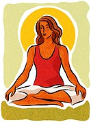 A woman meditating in the lotus position