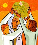 Three doctors holding up a ball of flowers and herbs