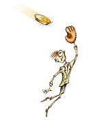 A businessman with a catchers mitt catching a gold coin