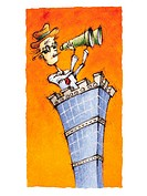 A businessman on the top of a high rise using binoculars