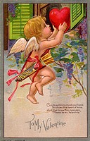 A vintage To My Valentine card with a cupid making a special delivery