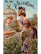 A vintage Valentine with a woman giving a bow and arrow back to a crying Cupid in a cage