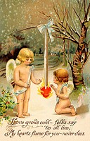 A vintage Valentine card with two cherubs warming up next to a heart on fire