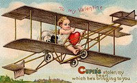 A vintage Valentine card with cupid flying an airplane with a stolen heart