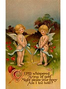 A vintage Valentine with two cherubs holding a golden ring on a ribbon