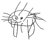 A black and white naive drawing of a crab