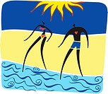 A man and woman walking into the water at the beach (thumbnail)