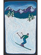 A down hill skier on a snowy slope (thumbnail)