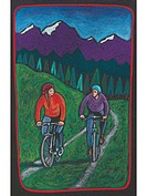 A couple biking along a trail with a forest and mountains behind them (thumbnail)