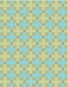 Green and blue crosses on an olive background