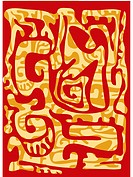 A red and brown melting wax batik_like pattern