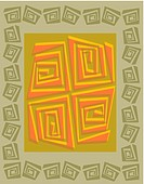 A green and orange geometric wood cut pattern