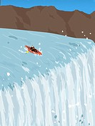 A businessman in a canoe trying to avoid going over a waterfall