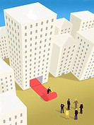 A businessman rolling out the red carpet from inside a building for a group of business people... (thumbnail)