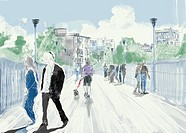 People walking across a pedestrian bridge (thumbnail)
