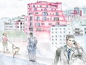 A urban landscape with people in the foreground (thumbnail)