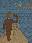 A businessman on a ship going towards a lighthouse (thumbnail)