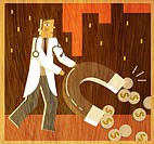 A doctor holding a large horseshoe magnet to attract coins (thumbnail)