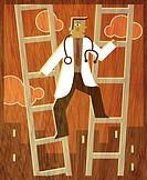 A doctor climbing up between two ladders (thumbnail)