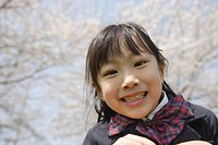 Japanese girl smiling and looking at camera