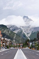 Street Scene with Mountain in Banff, Alberta, Canada