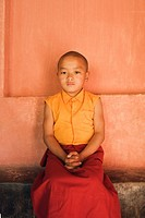 Portrait of a monk with his hands clasped, Mahabodhi Temple, Bodhgaya, Gaya, Bihar, India