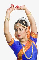Woman performing Bharatnatyam the classical dance of India
