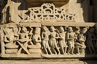 Sculptures carved on a temple, Samadhisvara Temple, Chittorgarh Fort, Chittorgarh, Rajasthan, India